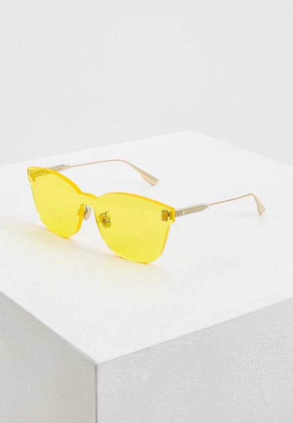 женские солнцезащитные очки кошачьи глаза christian dior, желтые