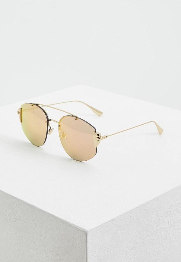 женские солнцезащитные очки christian dior, золотые