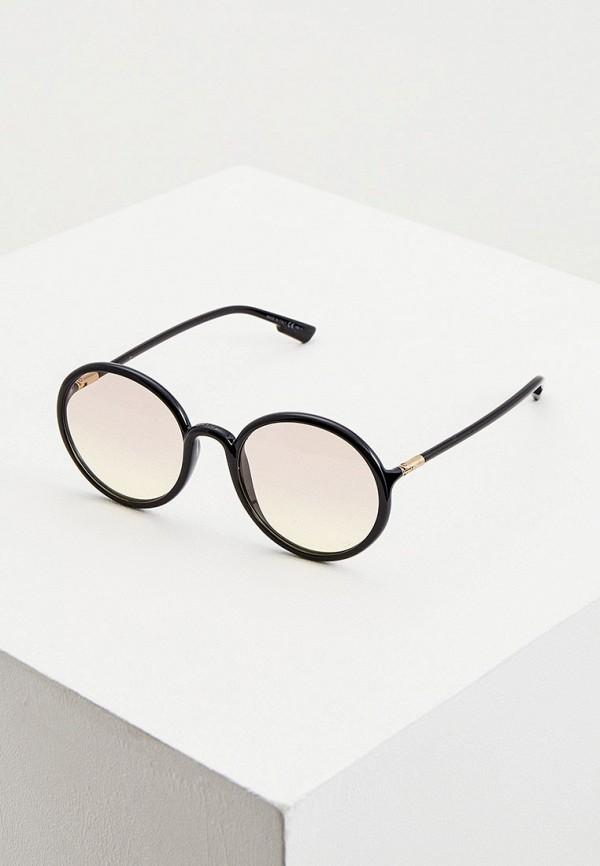 женские круглые солнцезащитные очки christian dior, черные