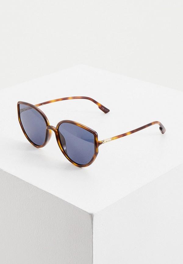 женские солнцезащитные очки christian dior, коричневые