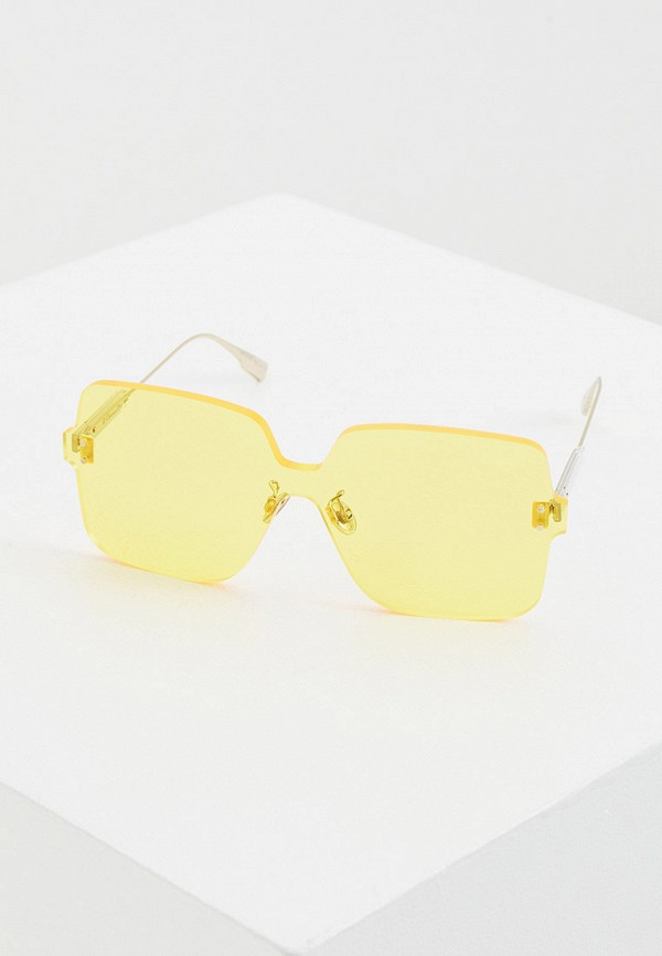 женские квадратные солнцезащитные очки christian dior, желтые