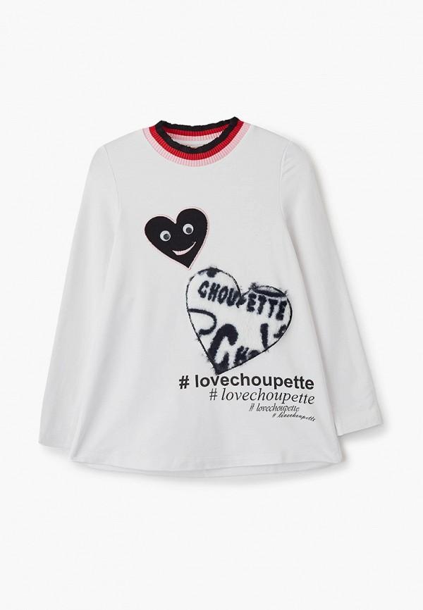 лонгслив choupette для девочки, белый