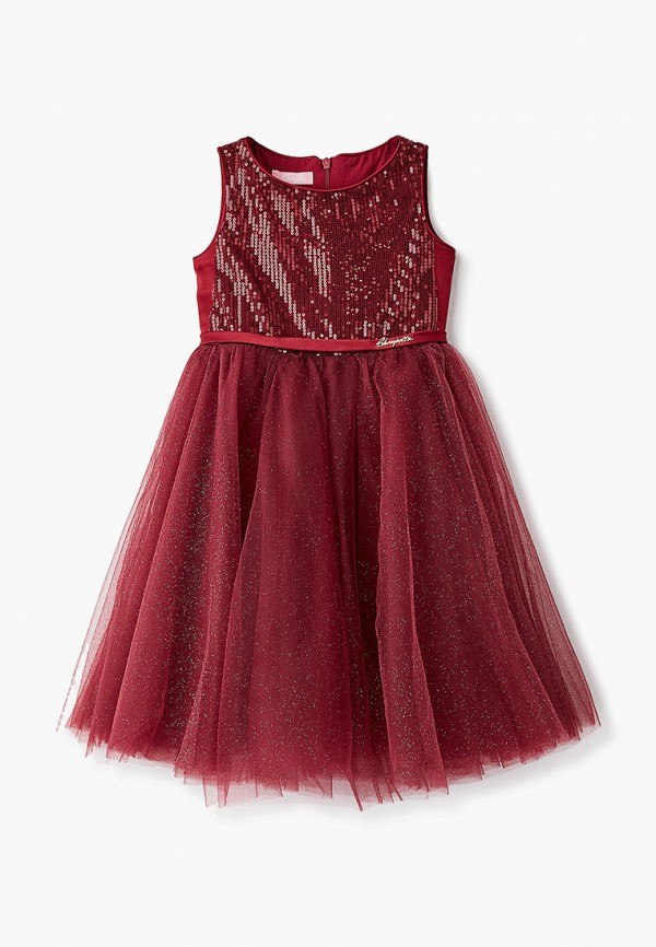 платье choupette для девочки, бордовое
