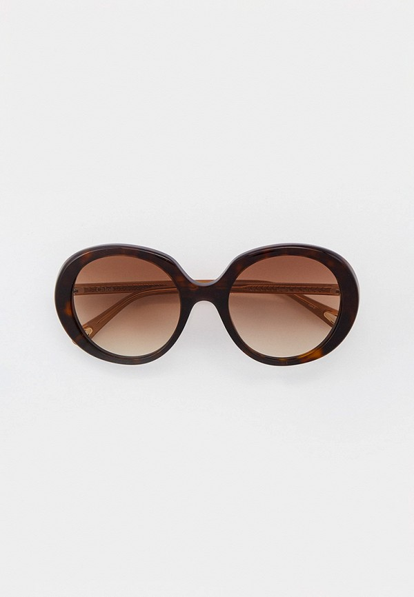 женские круглые солнцезащитные очки chloe, коричневые