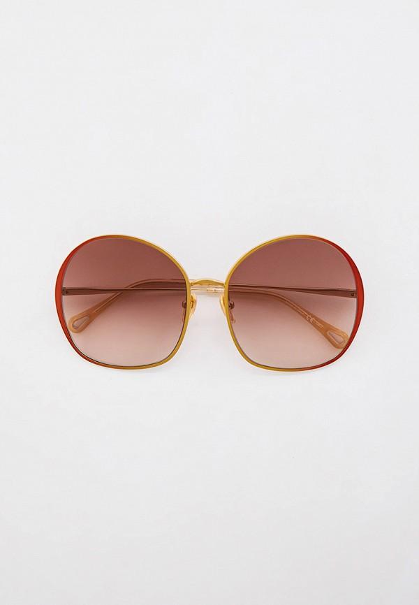 женские круглые солнцезащитные очки chloe, золотые
