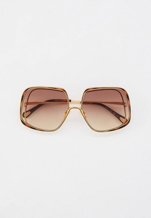женские квадратные солнцезащитные очки chloe, золотые