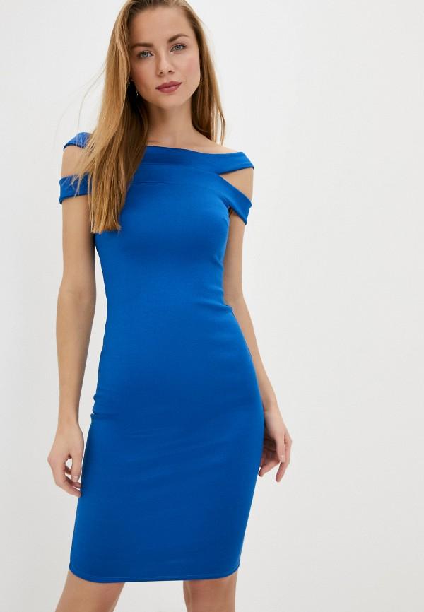 женское платье-футляр city goddess, синее
