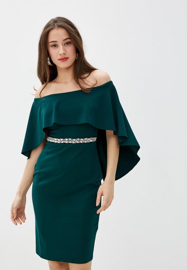 женское вечерние платье city goddess, зеленое