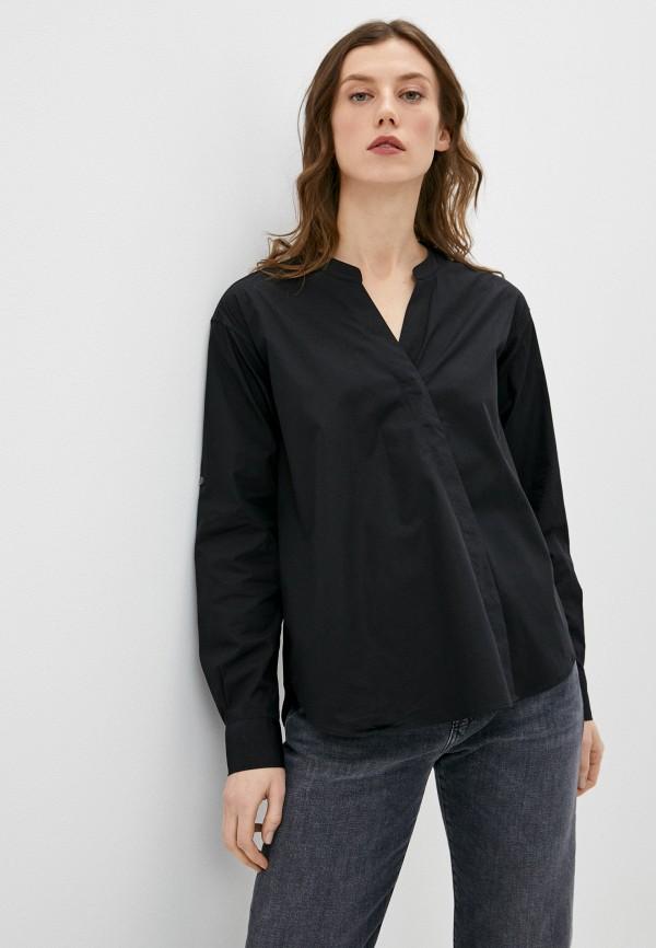 женская рубашка с длинным рукавом closed, черная
