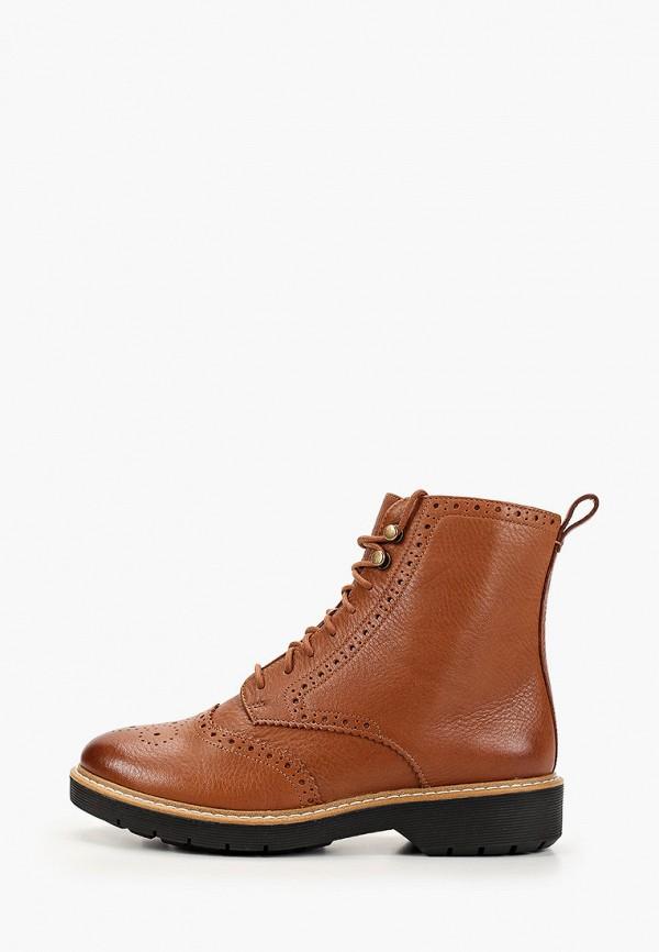 женские высокие ботинки clarks, коричневые