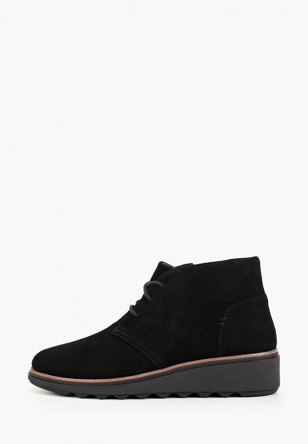 женские высокие ботинки clarks, черные