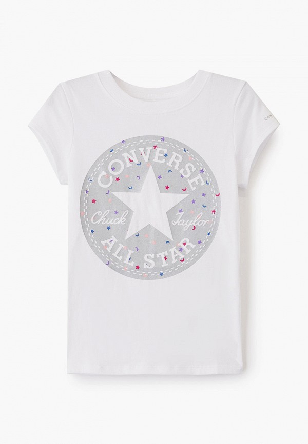 футболка с коротким рукавом converse для девочки, белая