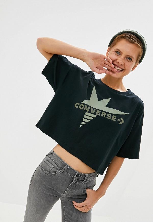 Купить Женскую футболку Converse черного цвета