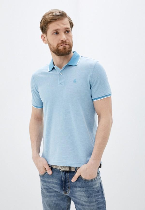 мужское поло cortefiel, голубое