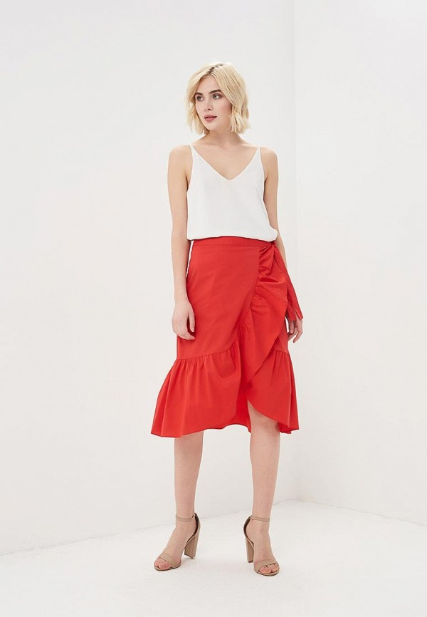 Фото 2 - женскую юбку Cortefiel красного цвета