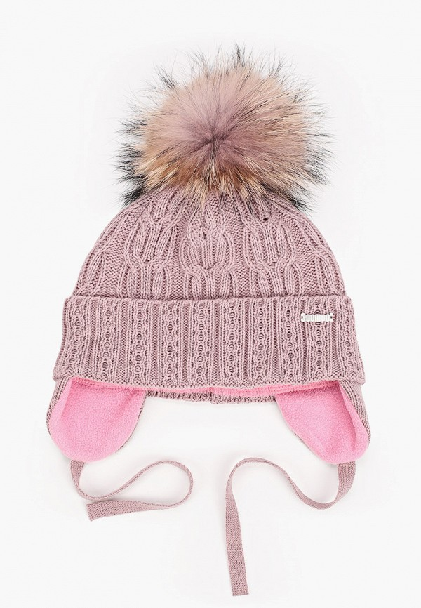 шапка coompol для девочки, розовая