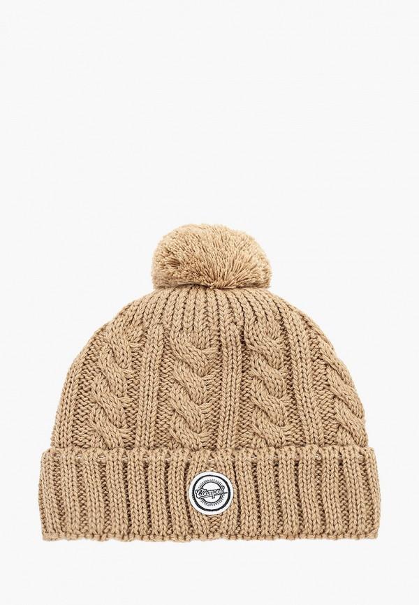 шапка coompol для девочки, бежевая