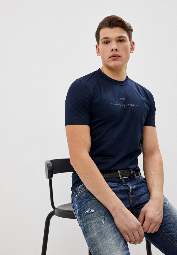 мужская футболка cortigiani, синяя