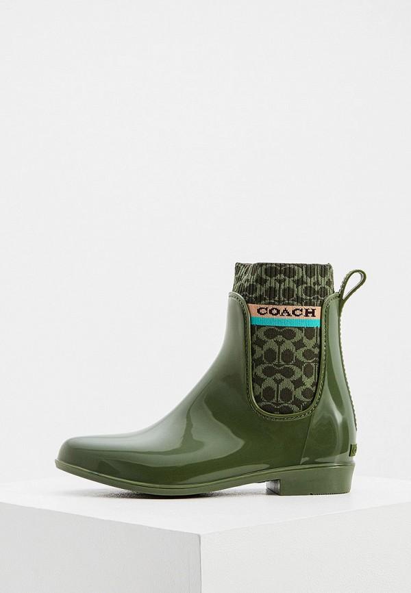 женские резиновые сапоги coach, зеленые