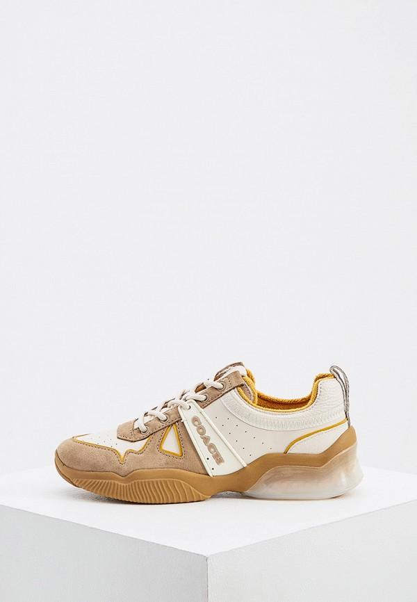 женские кроссовки coach, бежевые