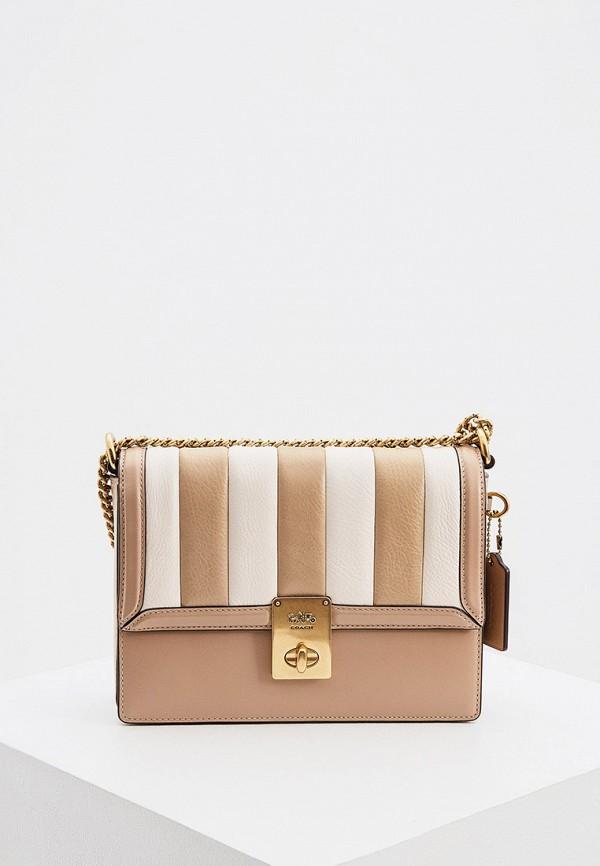 женская сумка coach, бежевая