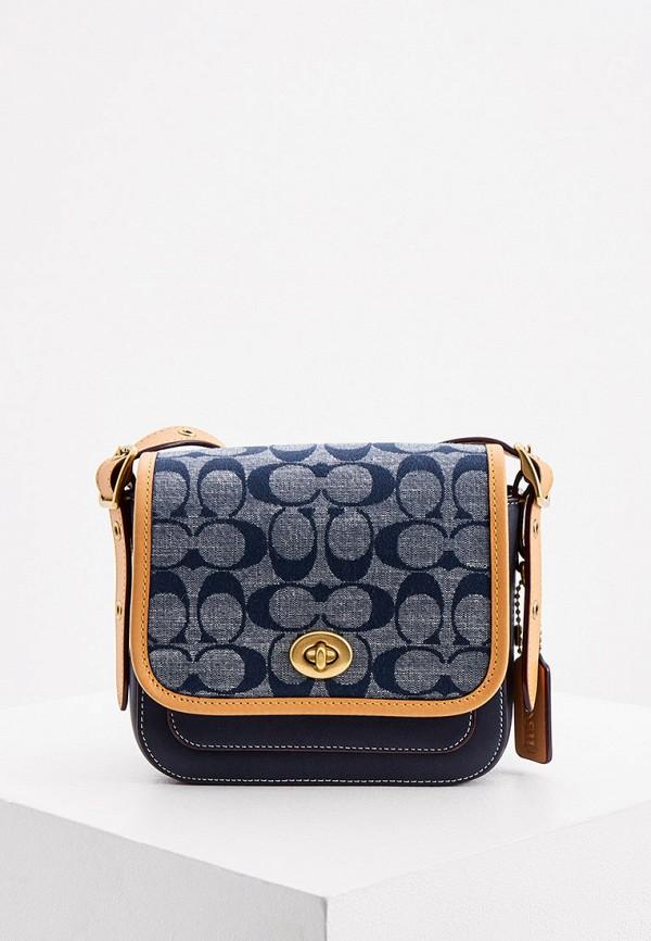 женская сумка coach, синяя