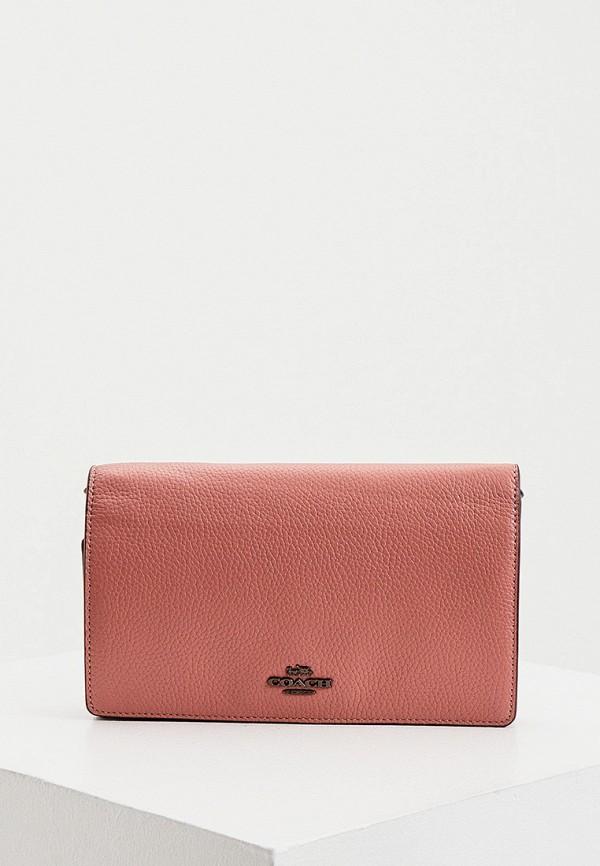 женский клатч coach, розовый