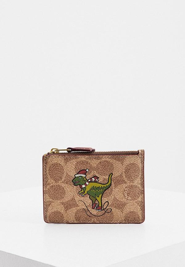 женский кошелёк coach, коричневый