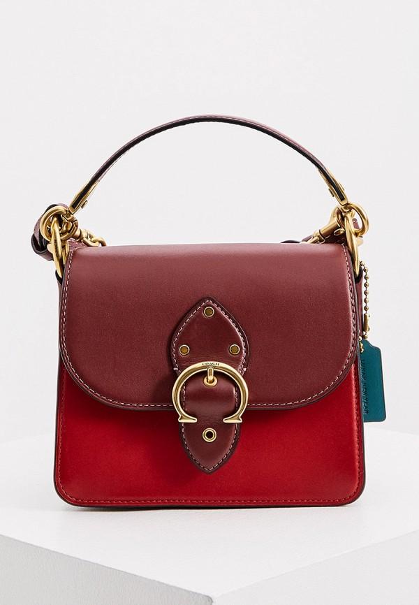 женская сумка coach, бордовая
