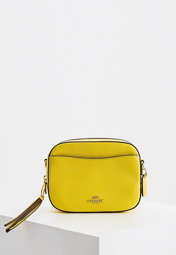 женская сумка через плечо coach, желтая