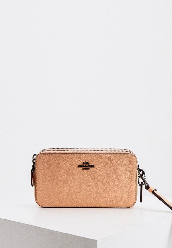 женская сумка через плечо coach, оранжевая