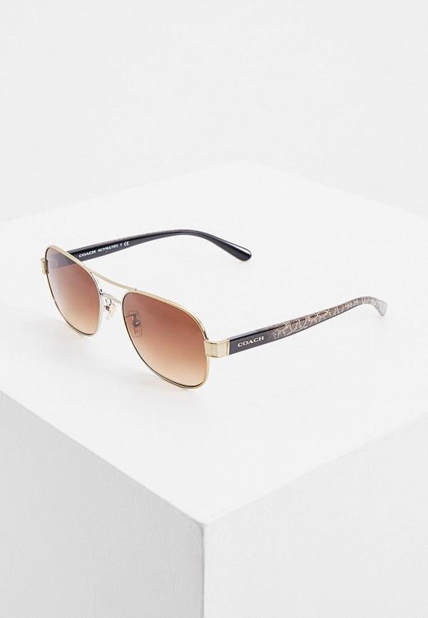 женские солнцезащитные очки coach, золотые