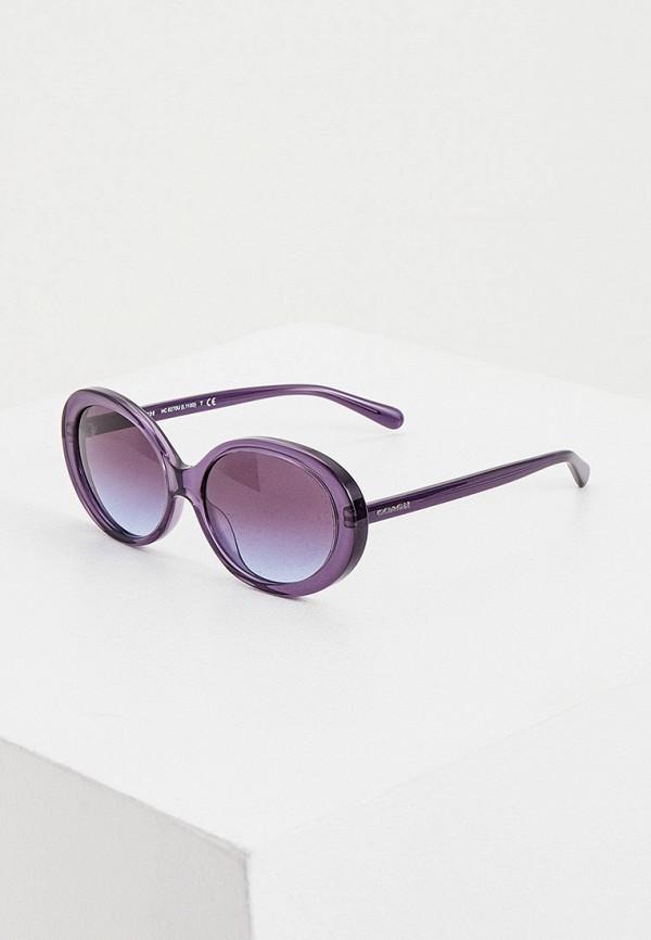 женские круглые солнцезащитные очки coach, фиолетовые