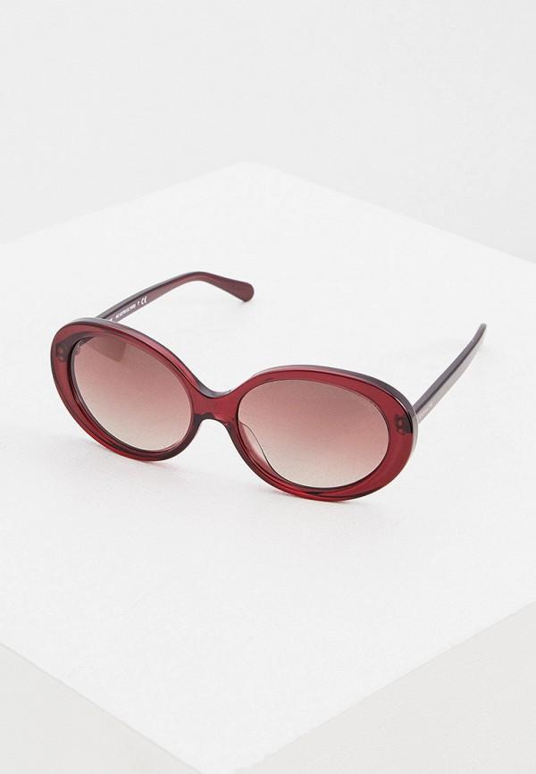 женские круглые солнцезащитные очки coach, бордовые