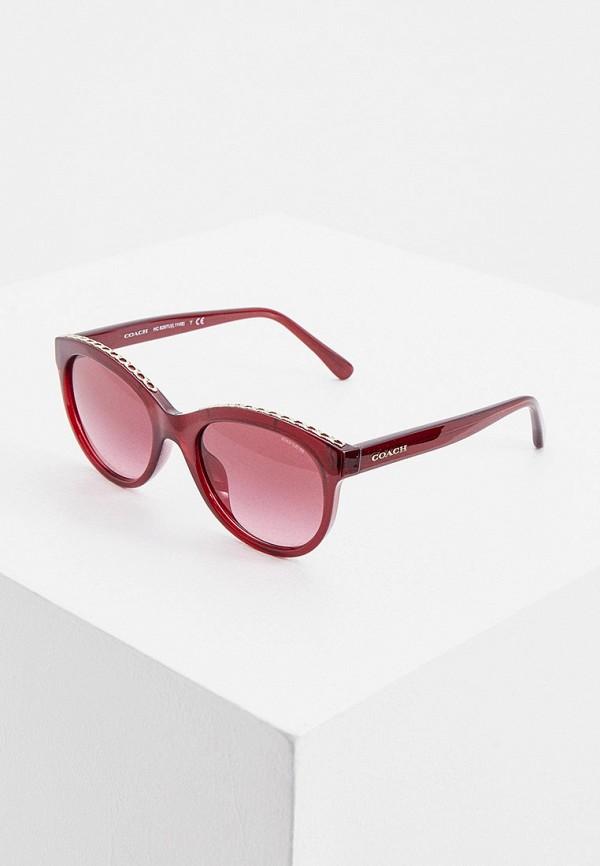 женские солнцезащитные очки кошачьи глаза coach, бордовые