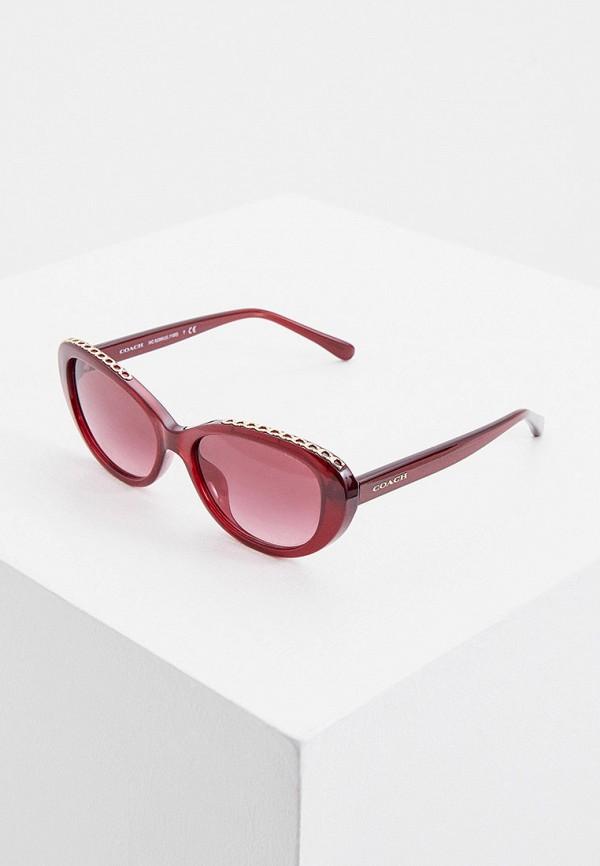 женские солнцезащитные очки coach, бордовые