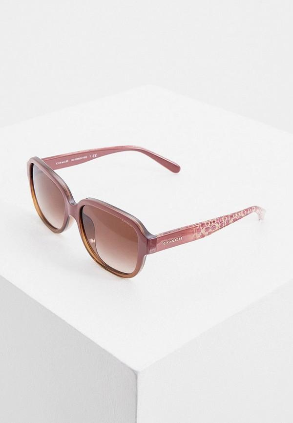 женские квадратные солнцезащитные очки coach, розовые
