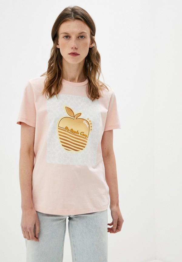 женская футболка coach, розовая