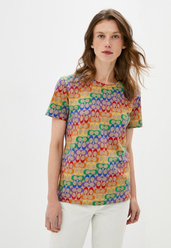 женская футболка coach, разноцветная