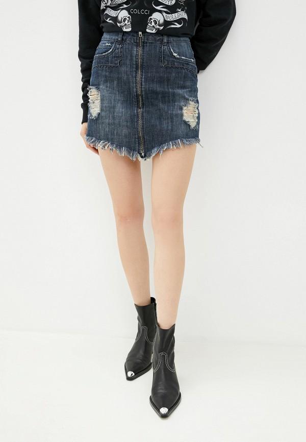 женская джинсовые юбка colcci, синяя