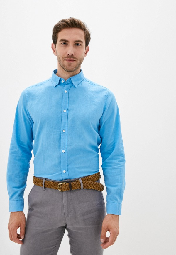 мужская рубашка с длинным рукавом code, синяя