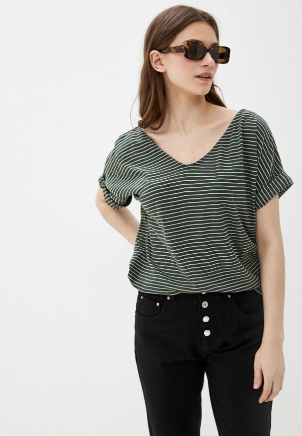 женская футболка code, зеленая