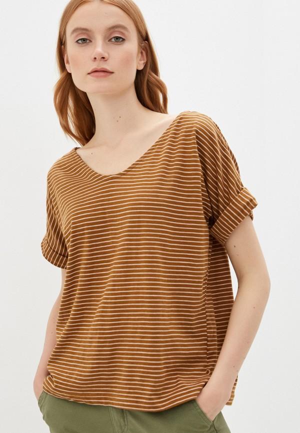 женская футболка code, коричневая