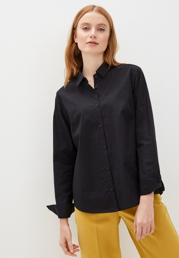 женская рубашка с длинным рукавом code, черная