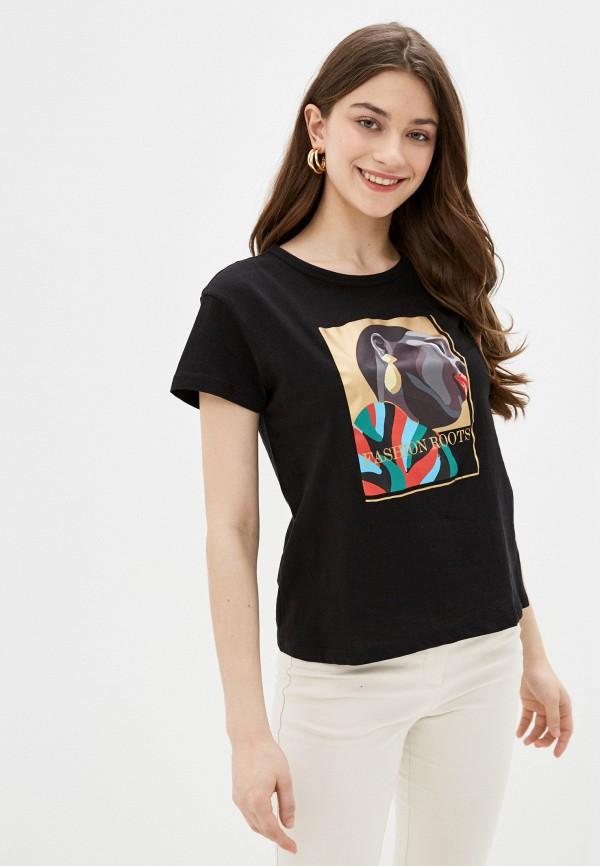 женская футболка code, черная