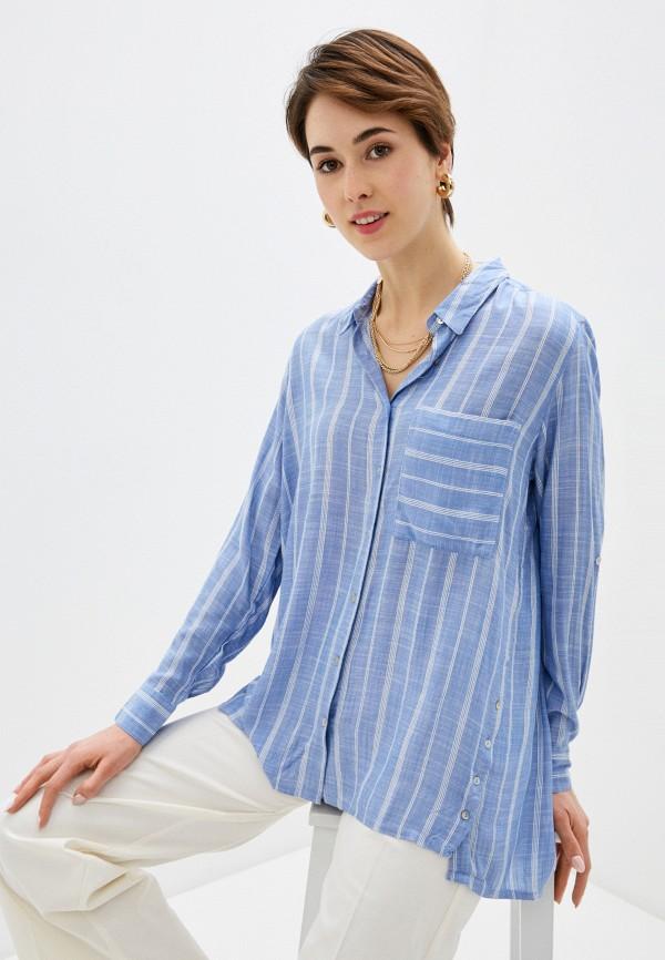 женская рубашка с длинным рукавом code, синяя