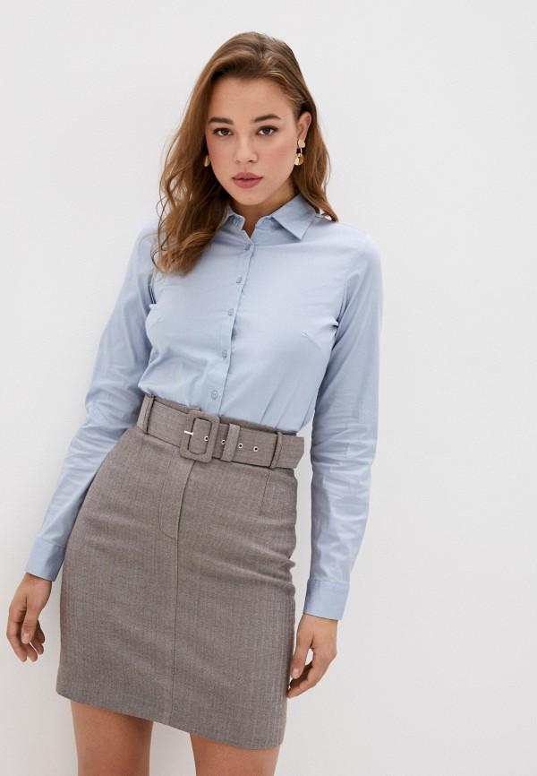женская рубашка с длинным рукавом code, голубая