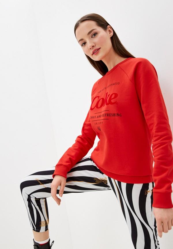 женский свитшот coca cola jeans, красный
