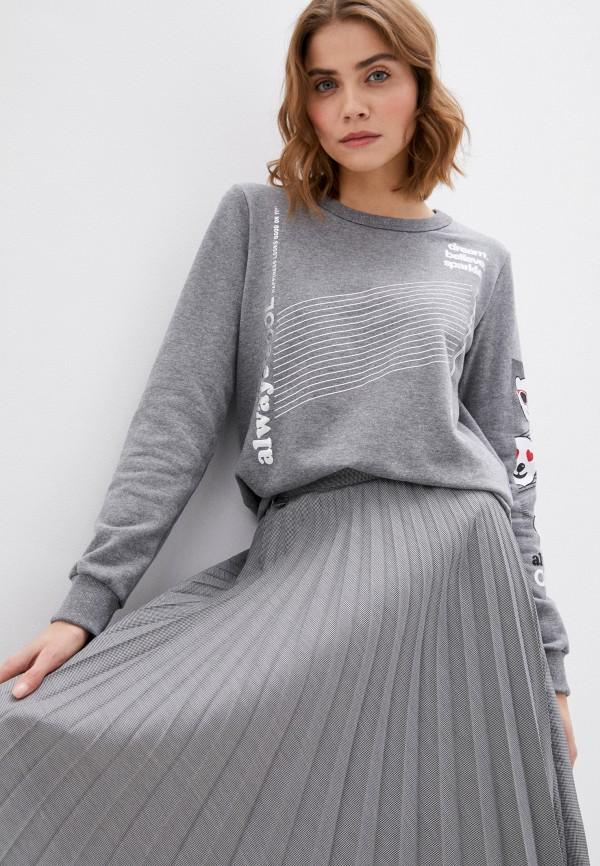 женский свитшот coca cola jeans, серый