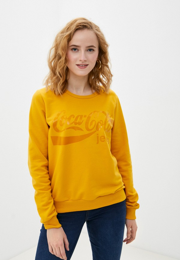 женский свитшот coca cola jeans, желтый